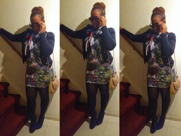Blue scarf dress 3